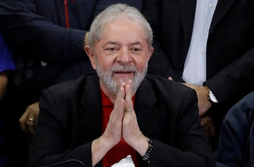 Former Brazilian President Luiz Inacio Lula da Silva gestures during a news conference after being convicted on corruption charges, in Sao Paulo, Brazil July 13, 2017. REUTERS/Nacho Doce